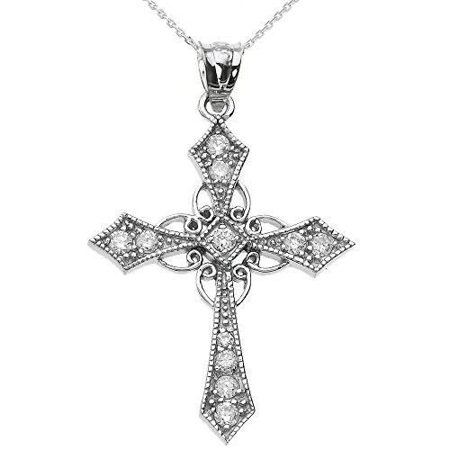 14k White Gold Celtic Cross Diamond fine Pendant Necklace, 18'