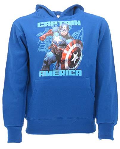 Marvel Felpa Capitan America Originale Super Eroe Prodotto Ufficiale Avengers Maglia con Cappuccio Bambino (5-6 Anni)