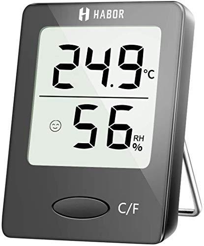 Habor Igrometro Termometro Digitale Termoigrometro LCD con l'Icona di comforto Termometro Ambiente Interno Rilevatore di umidità per Ambienti Misura Temperatura & umidità per Serra, Stanza, Casa