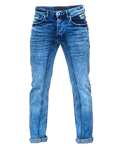 Rusty Neal Herren Jeans Hose Regular Fit Blue Used Blau Stretch Dicke Naht Freizeit 125, Hosengröße:34/32