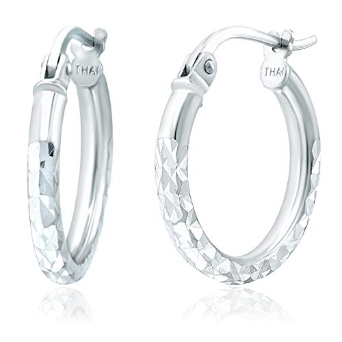 Michael Zweig Sterling Silver Diamond Cut Hoop Earrings with Click-Top Tube Size 2.0mm White Gold