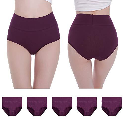 NUOZA Unterhosen Damen 5er Pack Unterwäsche Slip Pantys Mehrpack Baumwolle-Violett-3XL