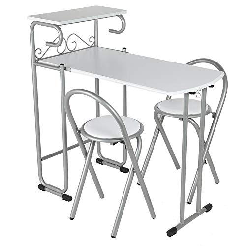 Greensen Juego de Mesa de Cocina y Dos sillas Juego de Mesa de Comedor Mesa Plegable y Silla Juego de Mesa de Cocina con 2 sillas para Espacios reducidos Panel de Madera y Estructura de Metal