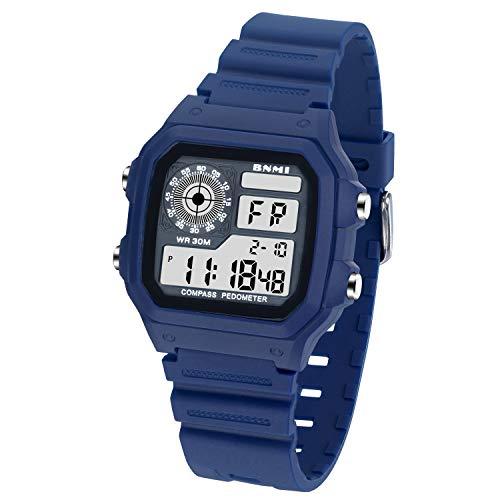 Reloj de Pulsera para Hombre - Reloj Digital Vintage Hombre con Correa de Resina, Reloj para Adolescentes LED Resistente al Agua con Alarma Diaria/Calendario