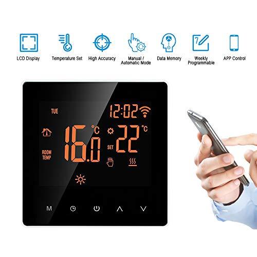 Wifi thermostaat, programmeerbare thermostaat, intelligente regeling van de temperatuurregeling, elektrisch programmeerbare elektrische vloerverwarming met touchscreen.