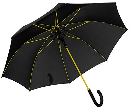 Baciami Pivoso Paraguas Grandes - Hombre Mujer - Estructura Reforzada con Fibra de Vidrio en Amarilo - Umbrella Automatico Antiviento ⌀ 95cm Paraguas Golf-Business - Negro