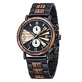 メンズ木製時計アナログクォーツ手作りナチュラルウッドウォッチビジネスカジュアル腕時計 (シマウマ)