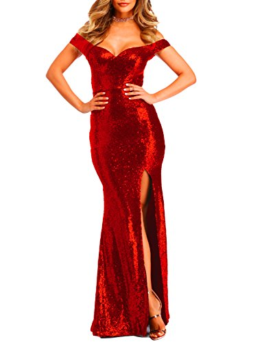 YSMei Women's Long Off The Shoulder Sequined Prom Party Dress Split Mermaid Wedding Gown Bright Red 12