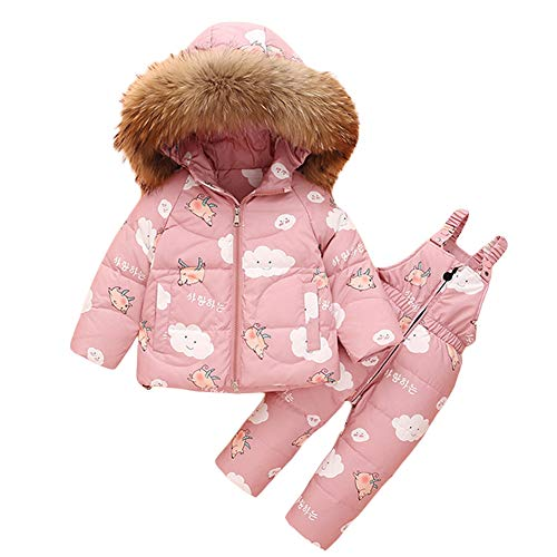 NXLWXN Peuter Baby Meisjes Twee Stuk Sneeuwpak, Leuke Winter Hooded Puffer Down Jas met Ski Bib Broek