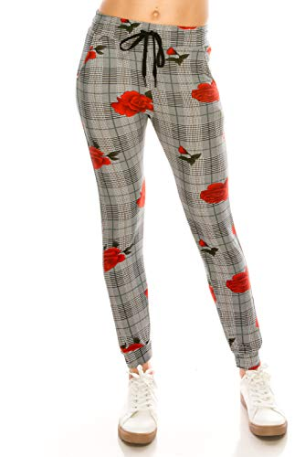ALWAYS Women Drawstrings Jogger Sweatpants - Super Light Skinny Plaid Checkered Floral Soft Pockets Pants US S (Tag S/M)