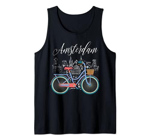 Love Cycling Luv Amsterdam Retro Bike Idea Regalo Design Canotta