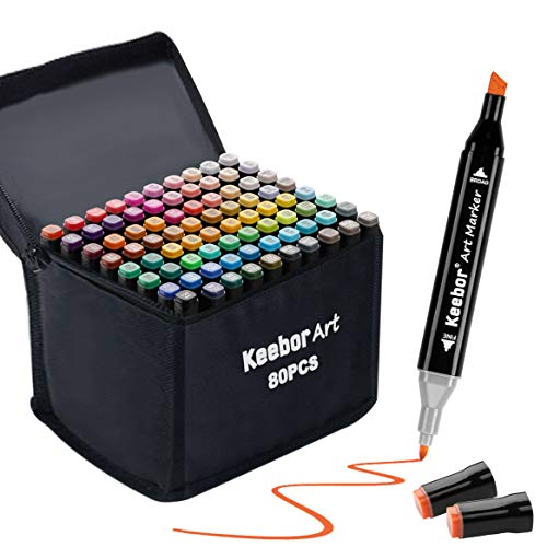 Keebor Premium 80+1 Colors Dual Tip Alcohol Art Markers, Plus 1 Blender Marker with Thick Packing, General Markers for Fine Arts Academy