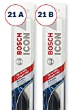 Bosch ICON Wiper Blades (Set of 2) Fits 2010-01 Volkswagen Beetle; 2010-99 Jeep Grand Cherokee; 2012-05 Chevrolet Corvette & More, Up to 40% Longer Life
