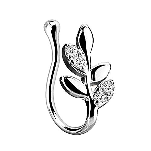 XKMY Anillo de nariz con forma de flor de hoja de cristal y cruz de nariz falsa, anillo de tabique falso, pendientes para mujer, clip para el oído, joyería sin cuerpo (color de metal: 7)