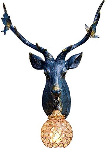Lámparas de pared industriales, Luz de pared interior vintage creativo a mano tallada tallada azul lámpara de pared de resina natural con corte de cáacha de cristal para sala de estar dormitorio resta