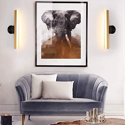 Lluminación de pared Pared brillante luz de LED moderno y minimalista Sala de estar Cama habitación de hotel antes del All-cobre espejo de la lámpara de pared de acrílico 5 * 12 * 45cm luz de la pared