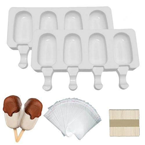 starter Ice Pop Molds Silikon Mini EIS Riegel Mold Set, Wiederverwendbare Popsicle Formen Ice Pop Molds Maker Ideal Für Cakesicles , 4/8-Cavity (2 Stück * 4 Kavitäten)