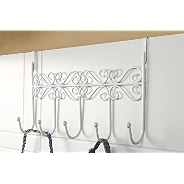 Youdepot Over the Door 5 Hanger Rack - Decorative Metal Hanger Holder for Home Office Use(White)