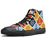 LORVIES - Zapatillas de deporte para hombre con anclaje de volantes, náutico marítimo, (multicolor), 37 EU