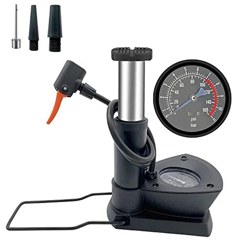 自転車 空気入れ Exodar 携帯ポンプ 足踏み式 米式/仏式/英式バルブ対応 ミニエアポンプ 小型 フットポンプ コンパクト ボール/浮き輪用アタッチメント