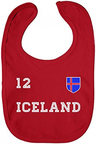 ShirtStreet Iceland Fußball WM Fanfest Gruppen Lätzchen Baumwolle Baby Bib Jungen Mädchen Trikot Island, Größe: onesize,Red