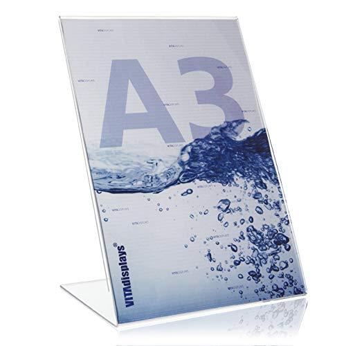 DIN A3 Werbeaufsteller/L-Ständer/L-Aufsteller im Hochformat/Tischaufsteller aus original PLEXIGLAS®