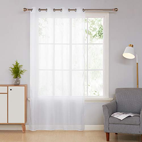 Deconovo Cortina Visillo Translúcido para Dormitorio y Salón 140 x 240 cm 1 Pieza Blanco