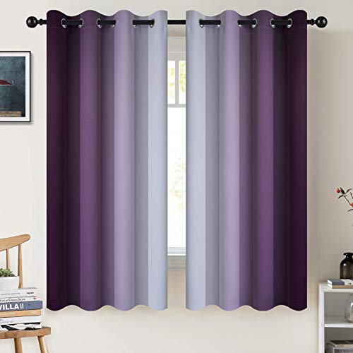 COSVIYA Grommet Ombre Room Darkening Curtains 63 inch Length, Purple and Greyish White Gradient Drapes Light Blocking Insulated Thermal Window Curtains for Bedroom/Living Room,2 Panels,52x63 inches