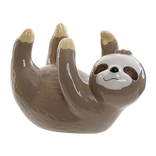 Hucha de Dolomite, con Forma de Perezoso Boca Arriba. Diseño de Animal, con Estilo Infantil (17cm X 11cm X 9cm) - Hogar y Más - Marrón Claro