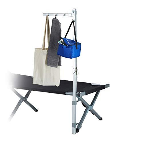 Relaxdays Kleiderständer Camping für Feldbett, Zubehör, Aluminium, Infusionsständer, HxBxT: 130 x 56 x 8,5 cm, silber