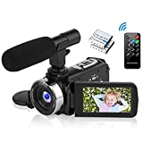 Camcorder Video Camera Full HD 1080P Camcorder with Microphone 16X Digital Zoom Vlogging camera for Youtube, 3.0' LCD 270 Degree Flip Screen Camcorder with 2 Batteries
