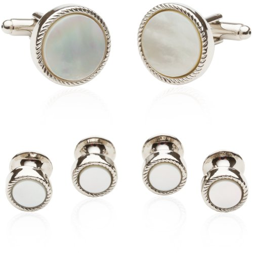 Cuff-Daddy Ribbed Mother of Pearl Silver Tuxedo Cufflinks and Studs with Presentation Box