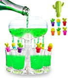Party Six Shot Glass Dispenser - Multishot Clear Drink Dispenser with 6 Shot Glass Set, 6 Cactus Wine Glass Charms and 1 Wine Bottle Stopper. Shot Glasses Holder Stand & Carrier for Parties