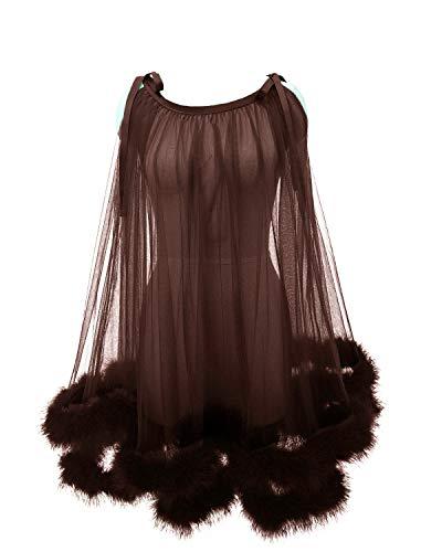 Molisa Tulle Short Feather Robe Lingerie Illusion Wedding Scarf Feather Bridal Robe Boudoir Robe Nightgown Sleepwear Brown S
