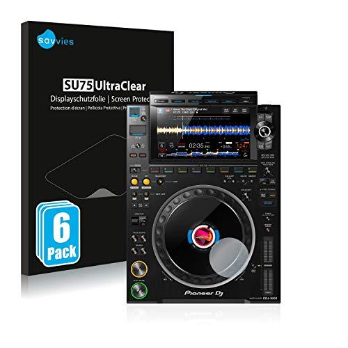 Savvies 6X Schutzfolie kompatibel mit Pioneer CDJ 3000 (Kreis) Bildschirmschutz-Folie Ultra-transparent
