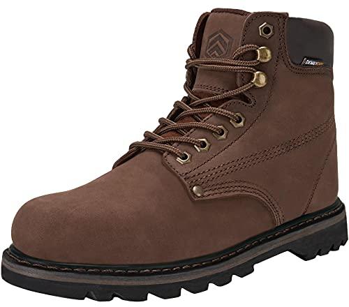 DURA-ANTISKID Botas de Seguridad Punta Suave Hombre Zapatillas de Seguridad Impermeable Calzado de Seguridad(café,40EU)