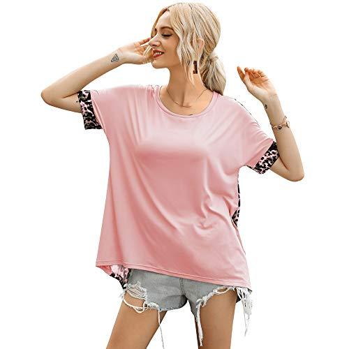 Ropa de Mujer Primavera y VeranoNueva Ropa de Mujer Europea y Americana Cuello Redondo Patrón de Leopardo Empalme Camiseta de Manga Corta Top