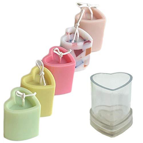 YISHIYI 3D Candle Molds DIY Handmade, Heart-Shape Silicone Molds for Baking, Making Candle, Chocolate, Soap etc