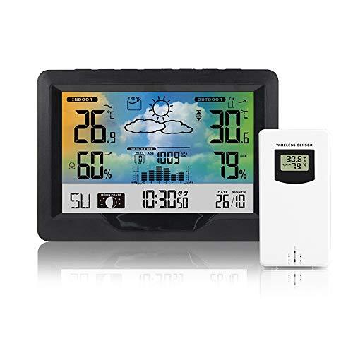 HITECHLIFE Funkwetterstation Multifunktionale Funkwetterstation Thermometer Mit Außensensor Funk Digitales Farbdisplay Dcf-funkuhr Multifunktionale Funkwetterstation Thermometer Hygrometer(schwarz)