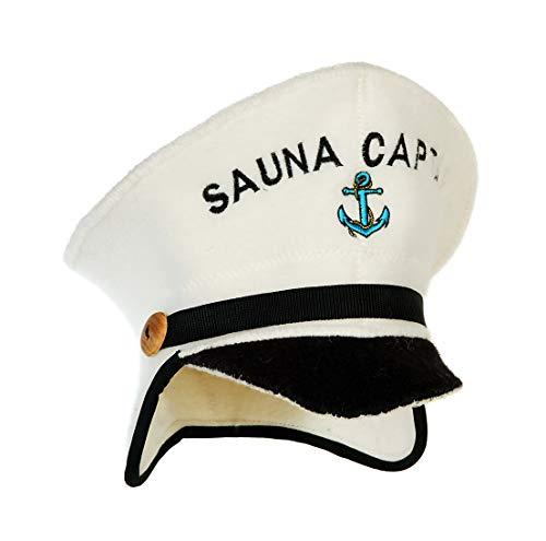 Natural Textile Saunahut \'Sauna Captain\' White - 100{d4cb10e50f0fd24cc496e24ceac4e92ffec8d31931b9a2cca5a17cff36fd223b} organische Wollfilzmützen - Schützen Sie Ihren Kopf vor Hitze - Englische Sauna E-Book Handbuch inklusiv - mit Stickerei