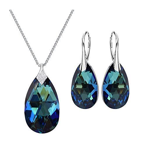 *Beforya Paris* Unforgett Tear's Set - Farbe Bermuda Blue - Echt Silber 925 - Tolle Schmuckset - Silber 925 - Schön Damen Schmuck mit Silberkette von Swarovski Elements