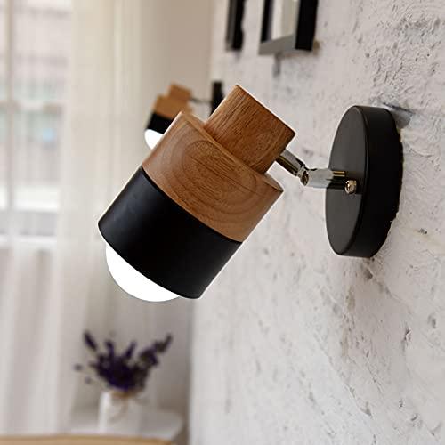 DULG Lámpara de Pared Moderna Luz de Punto de Lectura LED Giratorio de 350 ° Foco de Pared de Estilo nórdico Base de Madera Lámpara de Pared LED para Dormitorio Luz de Lectura Junto a la Cama Sala de