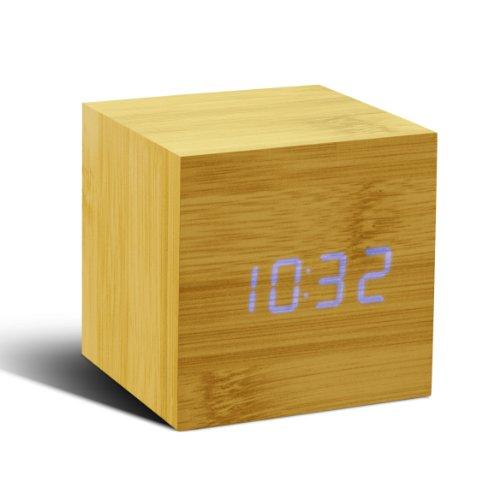 Gingko GK08B11 Würfel-Digitaluhr 'Click Clock' Buche mit Blauer LED-Anzeige