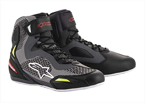 Alpinestars Botas de moto Faster-3 Rideknit Shoes Black Gray Red Yellow Fluo, Negro, Gris y Amarillo FLUO 43 25103191315-43