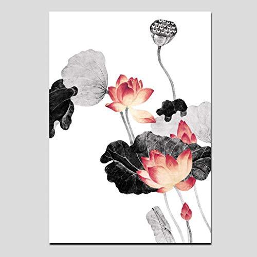 N/A Cuadro de caligrafía China Tradicional con impresión HD, Hoja de Loto Rosa, Lienzo artístico,Cuadro deParedpara Sala de Estar, sofá, decoración de Imagen Hogar Pared Decoracion Regalo