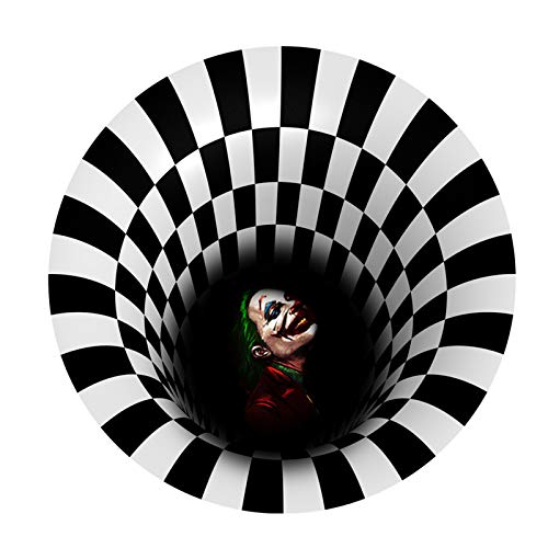 WE-WHLL 3D Illusion Halloween Felpudo Redondo Agujero sin Fondo Vortex Áreas Antideslizantes Alfombra Alfombra Alfombrilla para el Suelo Decoración del hogar-4-C