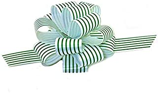 Green White Stripe Pull Bows - 5
