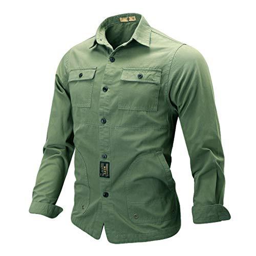 VRTUR Hemden Herren Arbeitshemd/Freizeithemd Solid Shirt Arbeitskleidung Langarm Hemdjacke Herbst Outwears in Vielen Farben(Armeegrün,XL)