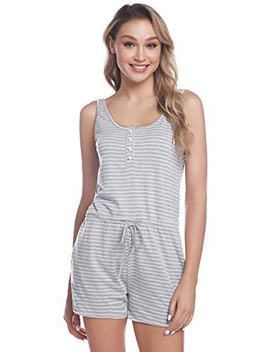 iClosam Pijama Mujer Verano Mono Algodon Pijama Raya sin Mangas Casual Ropa de Dormir S-XL