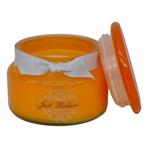 Marissa's Gifts Just Believe vela de cera de soja en tarro de cristal naranja con caja de regalo fragancia Chance